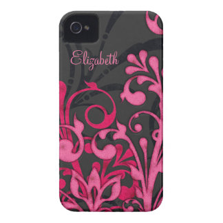 Personalized Pink Black Floral iPhone 4 Case
