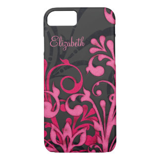 Personalized Pink Black Floral iPhone 7 Case