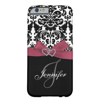 Personalized Pink, Black Ornate Damask Pattern Barely There iPhone 6 Case