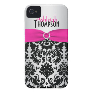 Personalized Pink Black Silver Damask Case-Mate iPhone 4 Cases