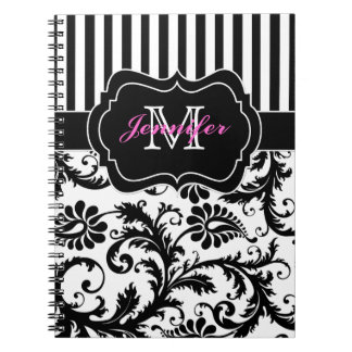 Personalized Pink Black White Striped Damask Spiral Note Book