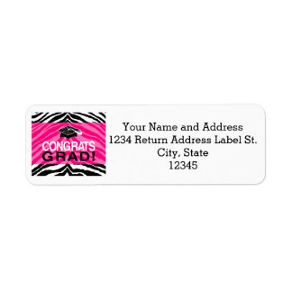 Personalized Pink Black Zebra Graduation Party