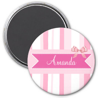Personalized Pink bow and stripes Name Magnet