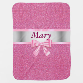 Personalized Pink Bow Glitter Baby Blanket