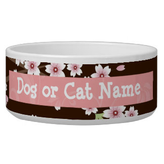 Personalized Pink/Brown Dogwood Blossom Dog Bowls