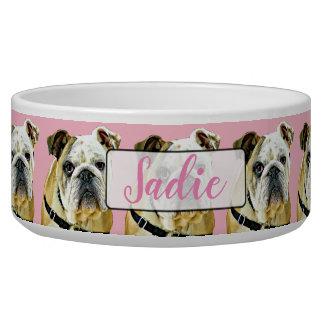 Personalized Pink  Bulldog black Dog Bowl