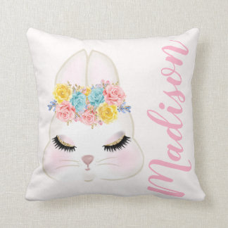 Personalized Pink Bunny Face Floral Throw Pillow