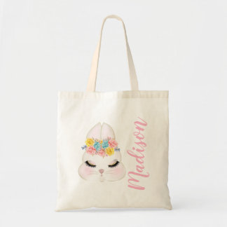 Personalized Pink Bunny Face Floral Tote Bag