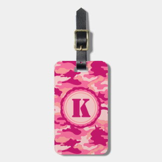 Personalized Pink Camo Pattern Luggage Tag
