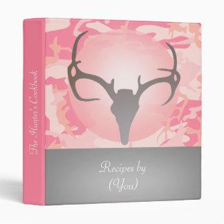 Personalized Pink Camouflage Deer Skull Cookbook 3 Ring Binders