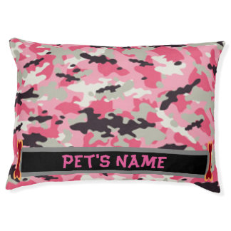 Personalized Pink Camouflage Dog Bed, Large Pet Bed
