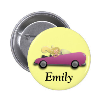 Personalized Pink Car and Girl Button