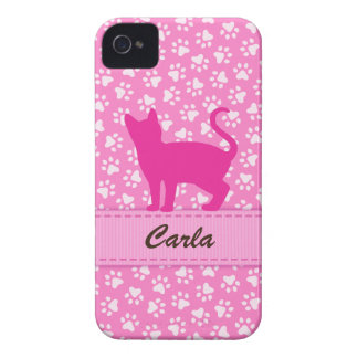 Personalized pink cat pawprints iPhone 4 case