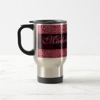 Personalized Pink Cheetah with Name Travel Mug