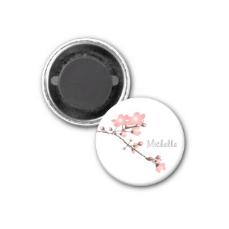 "Personalized Pink Cherry Blossom 2 "" Square Magnet"