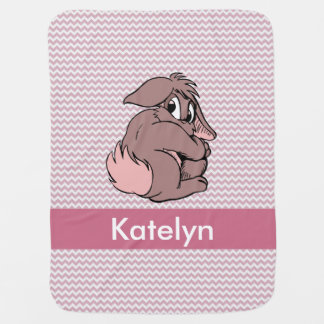 Personalized | Pink Chevron Bunny Rabbit Receiving Blankets