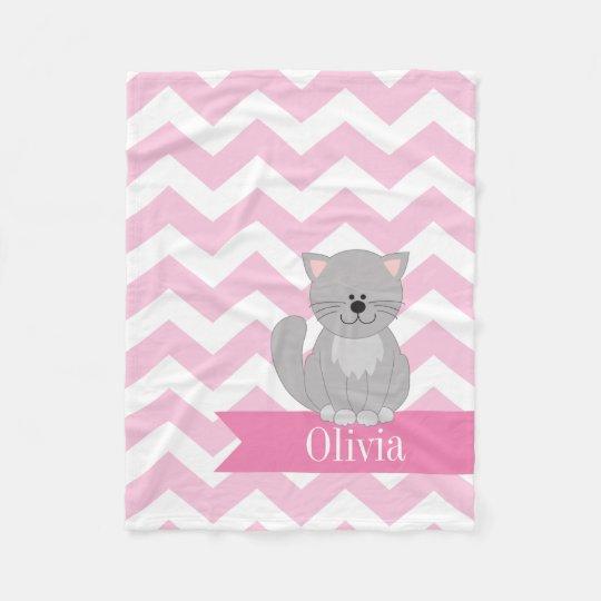 Personalized Pink Chevron Cat Fleece Blanket