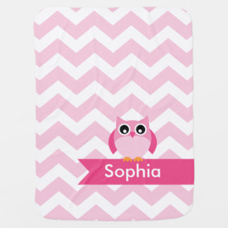 Personalized Pink Chevron Owl Baby Blanket