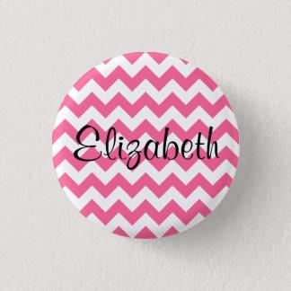 Personalized Pink Chevron Pattern Button