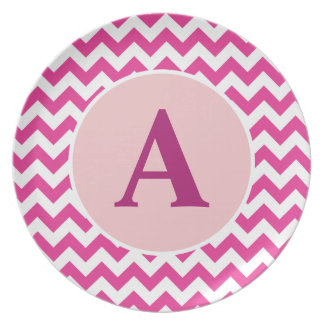 Personalized Pink Chevron Plate