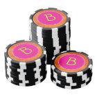 Personalized Pink Circle Orange Background Poker Chips