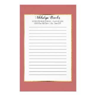 Personalized Pink Coral Graduation Year School Stationery