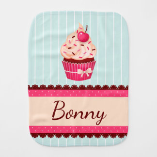 Personalized Pink Cupcake Mint Blue Background Baby Burp Cloths