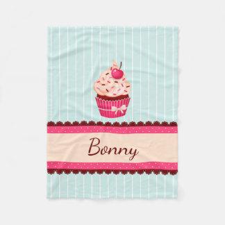 Personalized Pink Cupcake Mint Blue Background Fleece Blanket