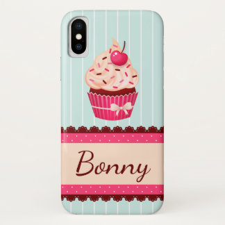 Personalized Pink Cupcake Mint Blue Background iPhone X Case