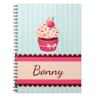 Personalized Pink Cupcake Mint Blue Background Notebook