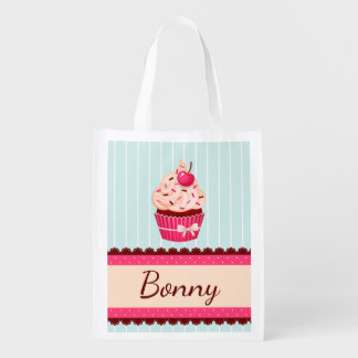 Personalized Pink Cupcake Mint Blue Background Reusable Grocery Bags
