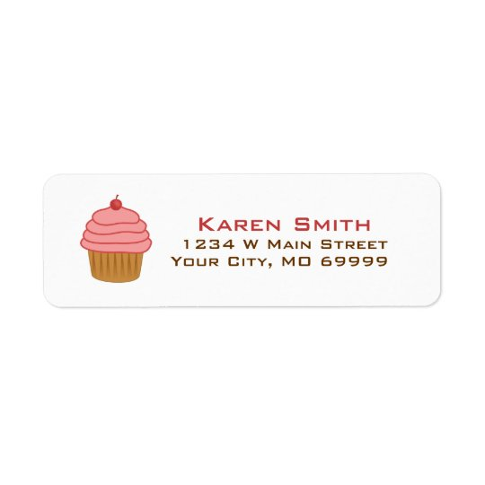 Personalized Pink Cupcake Return Address Label