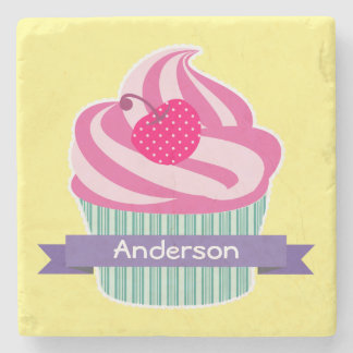 Personalized Pink Cupcake WIth Polka Dot Cherry Stone Coaster