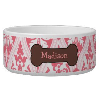 Personalized Pink Damask Dog Food Bowl