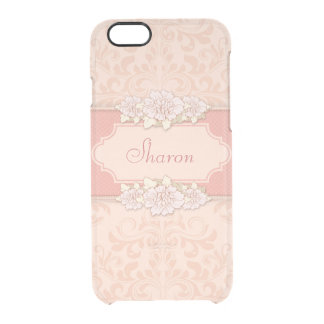 Personalized Pink Damask Floral Clear iPhone 6/6S Case
