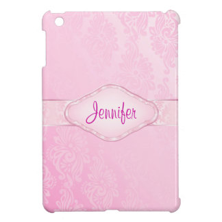 Personalized Pink Damask Mini iPad Case