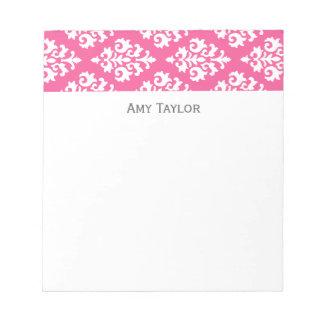 Personalized Pink Damask Pattern Notepad