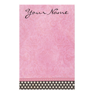 Personalized Pink Damask with Polka Dot Stationery