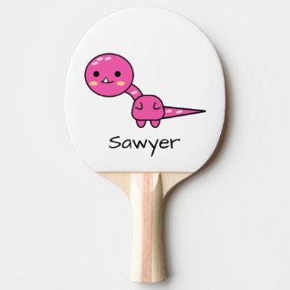 Personalized Pink Dinosaur Kawaii Cartoon Ping Pong Paddle