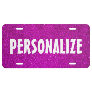 Personalized pink faux glitter license plate