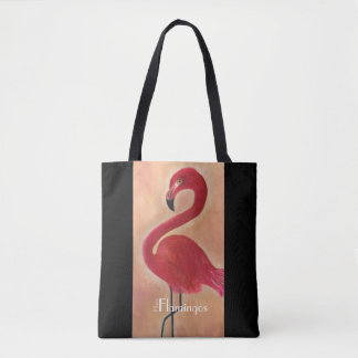 Personalized Pink Flamingo Art Tote Bag