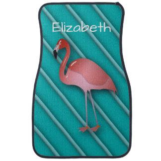 Personalized Pink Flamingo Auto Mat