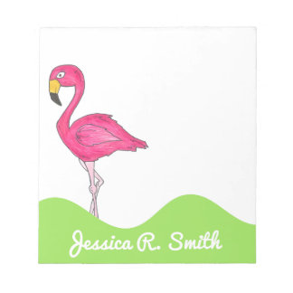 Personalized Pink Flamingo Tropical Bird Notepad