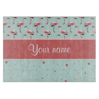 Personalized Pink Flamingos Polka Dots Cutting Boards
