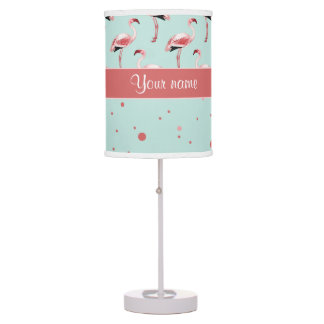 Personalized Pink Flamingos Polka Dots Desk Lamp