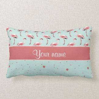 Personalized Pink Flamingos Polka Dots Lumbar Pillow