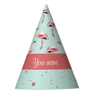 Personalized Pink Flamingos Polka Dots Party Hat