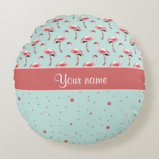 Personalized Pink Flamingos Polka Dots Round Pillow