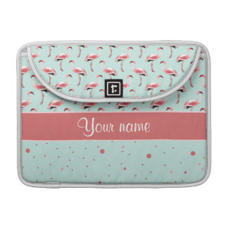 Personalized Pink Flamingos Polka Dots Sleeve For MacBook Pro