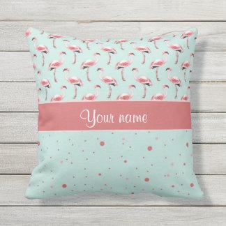 Personalized Pink Flamingos Polka Dots Throw Pillow